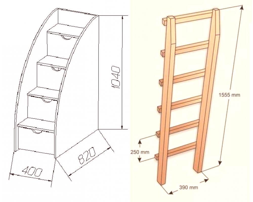 Lit Superposé Marche Escalier lit superposé pour enfants à faire soi-même: dessins, photos